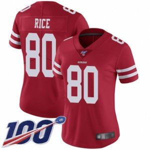 Women 49ers Jerry Rice 100th Season Jersey (4)